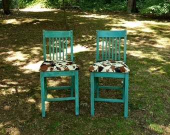 Distressed Turquoise Bar Stools / Counter Stools / Mission Bar Stools / Rustic Wooden Bar Stools / Rustic Seating