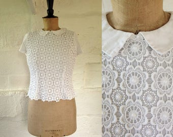 1960s 'Dermore of Mayfair' Snow White Lace Blouse with Peter Pan Collar / 60s Top / Vintage Lace Blouse / SIZE UK 10