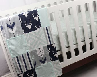 2 Piece Crib Bedding Set - Blanket and Fitted Crib Sheet - Navy, White, Mint and Grey Woodland Blanket with Mint Chevron fitted sheet