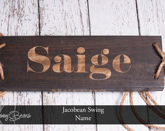 Tree Swing Engraved Name OR Date Jacobean Stain Tree Swing