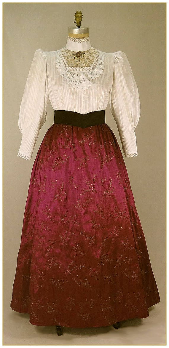 Victorian Costumes: Dresses, Saloon Girls, Southern Belle, Witch Embroidered Wine Taffeta SkirtEmbroidered Wine Taffeta Skirt $62.00 AT vintagedancer.com