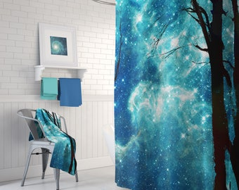 Night Sky Shower Curtain Set - Starry sky with trees,  blue and black shower curtain, Milky Way Galaxy bathroom decor