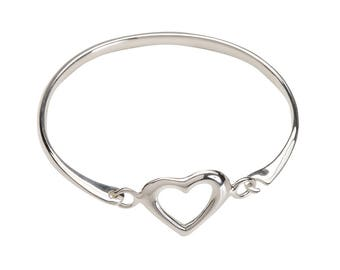 Sterling Silver Heart Bangle for Babies and Girls Comes in a Gift Box (Heart Bangle)