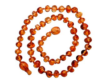 Genuine Baltic Amber Teething Necklace (ATNP-BQ-Light Cherry)
