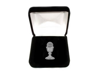 First Communion Chalice Pin in a Gift Box  (CHTP-Silver)