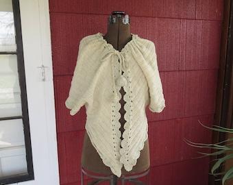 "Vintage 1900s Edwardian cream blue crochet shawl wrap muffler vest pom poms tassels bust 40"" waist 31"" (32517)"