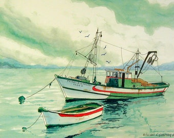 Portuguese Fishing Boat - limited edition watercolor print Europe travel seascape art painting