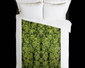 Leaf Duvet Cover, Bohemian Duvet Cover Amnesia Kush Cannabis Print,Duvet Cover Floral, Leaf Bedding,Hippy Decor, Duvet Cover Full