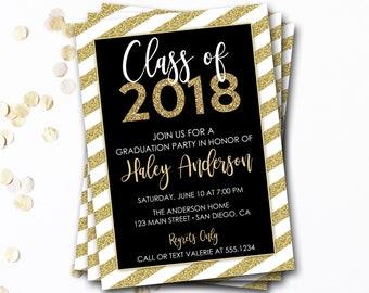 Black and Gold Graduation Invitation, Class of 2017, Gold Graduation Invitation, Glitter Invitation, DIY Printable