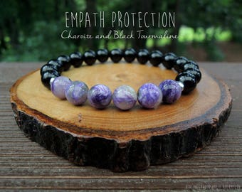 Charoite and Black Tourmaline Bracelet // Empath Protection //Charoite Jewelry // Energy Bracelet // Reiki Jewelry // Healing Garden Shop