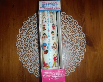 Vintage 1970's Large Happy Birthday Candle - Vintage Sixteen Years Birthday Candle Pillar Cake Decorations- Multi-Year Birthday Candle