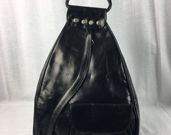 Handcrafted Leather Backpack Purse Black
