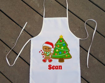 Personalized Kids' Apron - Boys' Holiday Apron - Custom Christmas Apron with Gingerbread Cookies - Baking Apron for Kids - Kids' Chef Apron