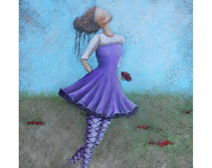 girl with flowers wall art, textured country painting print,  palette knife beautiful woman art. Painting by Nancy Quiaoit
