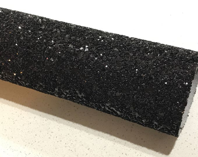 Black Glitter Fabric Sheet 0.9mm Thick A4 or A5 Sheets Black Chunky Glitter Fabric