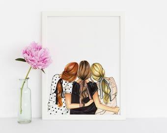 Three is Better Than One (HORIZONTAL***Fashion Illustration- Fashion Print- Fashion Art - Art - Home Decor - Wall Art - Custom Print)