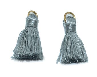 2 mini tassel 25mm silver rayon with ring