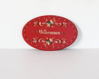 Vintage Scandinavian Norwegian Rosemaling Red Velkommen Sign