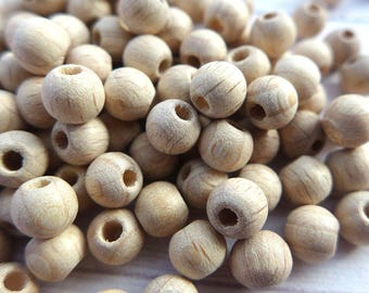 Natural wooden round beads 6mm 100pcs, Unfinished wooden beads, Wooden beads to decorate