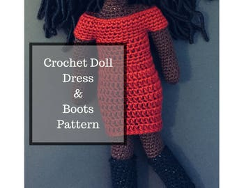 Crochet Doll Dress and Boots Pattern