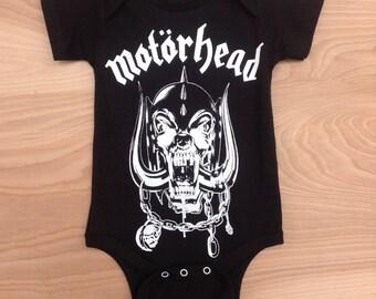 Printed Baby One-sie- Motorhead/ Black