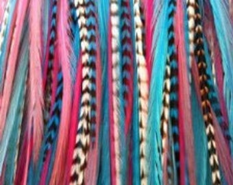 "8""-11""  Gorgeous Pinks & Blues with Grizzly 5 Feathers"