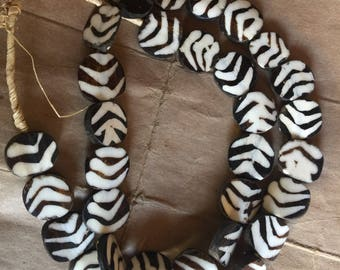 KENYA flat black and white batik bone beads  Africa trade beads
