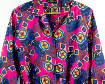 VTG RETRO TOP ϟ 80'S Statement Abstract / Geometric Vibrant Vintage +  Button Up / Blouse / Shirt / Top
