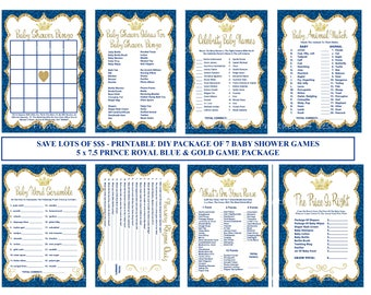 Royal Blue Prince Baby Shower Game, Royal Blue Gold Baby Game, Printable Prince Baby Game, Blue Gold Glitter Baby - Printables 4 Less 0112