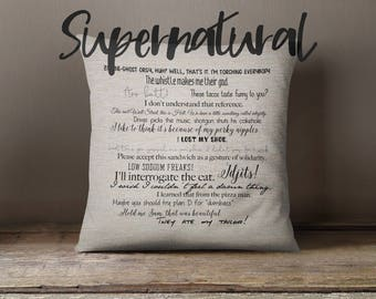 Supernatural TV show quote pillow cover 18x18inch - movie quotes - movies - washable pillow cover - fiber arts - home textiles - eco inks