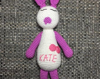 Personalized crochet bunny