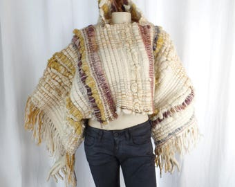 OMG vintage wearable art HOODED PONCHO/ Saori style loomed wool roving/fringe fest/one of a kind statement : one size