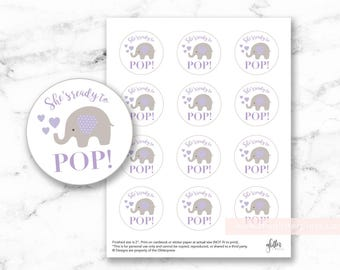 """Ready to Pop printable 2"""" circle favor tags purple cute baby elephant with hearts, baby girl shower, cupcake toppers, INSTANT DOWNLOAD"""