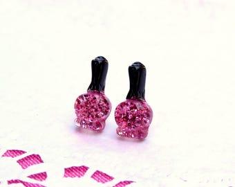 "Earrings ""nails addict"" pink glitter"
