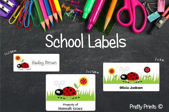 Ladybug Stickers, School Labels, Back to School, Ladybug, Personalized Stickers, Personalized Labels, Ladybug Labels, Tags