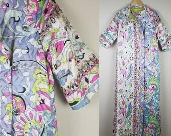 Quilted robe - vintage purple 1970s paisley long house coat sleepwear