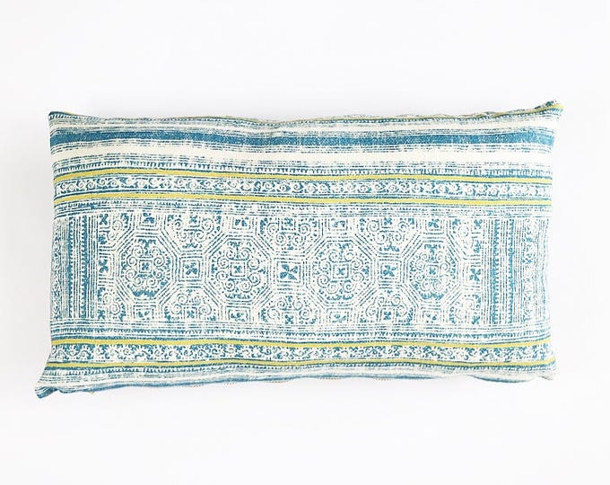 READY TO SHIP Hmong Tribal Batik Print Textile Pillow Cover 12x20