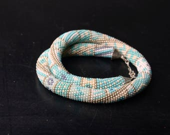 unique chunky necklace, crochet bead necklace, statement jewelry, turquoise bib necklace, gift for women