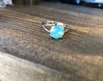 Pacific Green Opal 8.5 mm Swarovski crystal Adjustable Ring in Rhodium finish (shiny & durable)