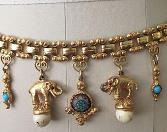 1960s Juliana Jewelry Gold Chain Link Belt Beads Elephants Turquoise Mosaic Charm Pendants Adjustable Multi Size Delizzo and Elster