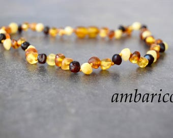 Necklace of amber for kids, babies 34 cm