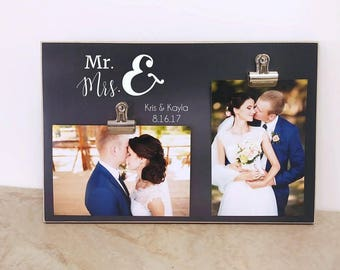 Wedding Photo Frame, Wedding Decoration Idea, Bridal Shower Gift  {Mr and Mrs}  Personalized Wedding Picture Frame, Custom Gift  8x12