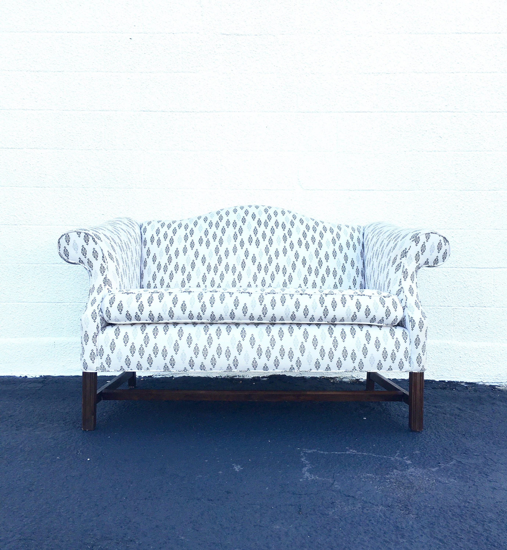 Vintage Camel Back Chippendale Loveseat Sofa Reupholstered