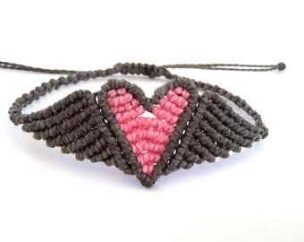 Macrame Bracelet, Heart Bracelet, Wing, Heart Bracelet