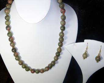 A Lovely Unakite Necklace and Earrings. (2017216)