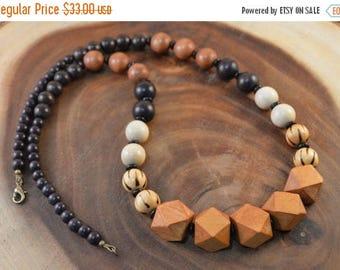 SALE Bohemian Necklace, Wood Bead Necklace, Chunky Necklace, Long Beaded Necklace, Bohemian Jewelry, Boho Chic, Statement Necklace
