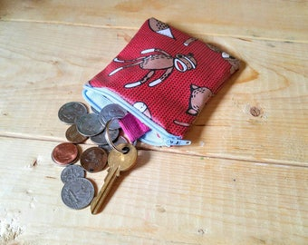 Sock Monkey Coin Purse - Laminated Coin Purse - Change Purse - Sock Monkeys - Small Zippered Bag - Zippered Pouch - Laminated Pouch