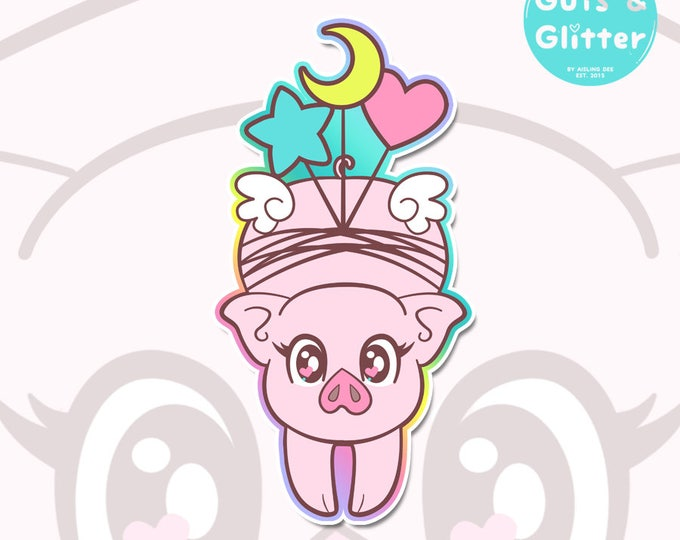 Penelope Pig With Balloons Holographic Sticker