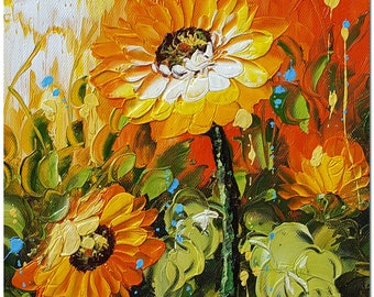Signed Hand Painted Modern Impressionist Flower Oil Painting Gallery Wapped, Ready to Hang