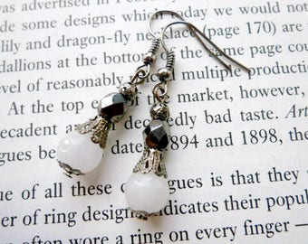 Gunmetal Earrings Black And White Beaded Jewelry Victorian Inspired Clip On Dangle Dainty Jewelry Corpse Bride Halloween Costume Pastel Goth